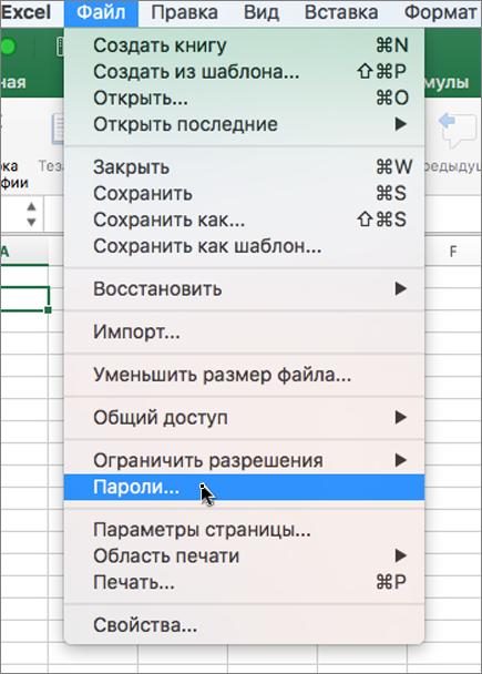 "Параметр ""пароль"" в меню ""файл"""
