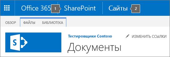 Левый верхний угол экрана в SharePoint2016 со средством запуска приложений и названием