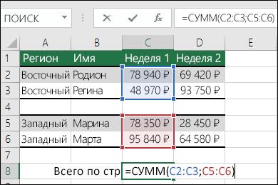 Использовании функции СУММ с несмежными диапазонами.  Ячейка C8 содержит формулу =СУММ(C2:C3;C5:C6). При использовании именованных диапазонов формула примет вид =СУММ(Неделя1;Неделя2).