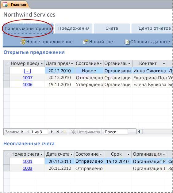 """Вкладка """"Панель мониторинга"""" шаблона базы данных """"Услуги"""""""