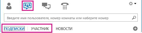 """Снимок экрана: комната чата в главном окне Lync с выделенными вкладками """"С подпиской"""" и """"Участие в группе"""""""
