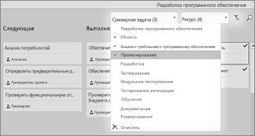 Доска задач с раскрывающимся списком фильтров