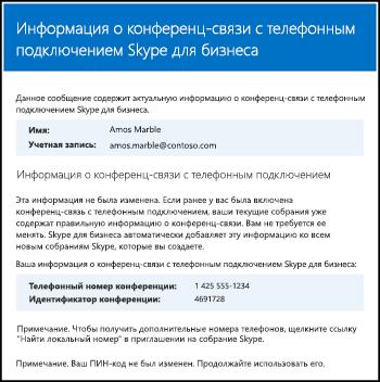 Сообщение о конференц-связи с телефонным подключением