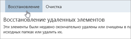 "Снимок экрана: кнопка ""Восстановление""."