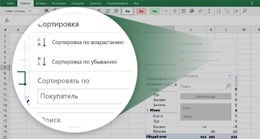 Лист Excel со сводной таблицей и увеличенным набором доступных функций