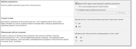Окно ''Дополнительные параметры типов контента сайта''.