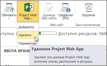 "На ленте нажмите ""Project Web App"" и выберите команду ""Удалить""."