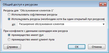 """параметры в диалоговом окне """"Общий доступ к ресурсам"""""""
