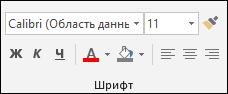 Команды, доступные в группе шрифт Access
