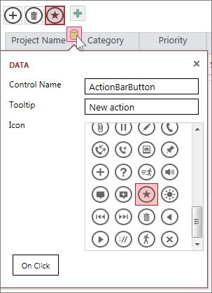 Диалоговое окно «Данные» для настраиваемого действия в веб-таблице