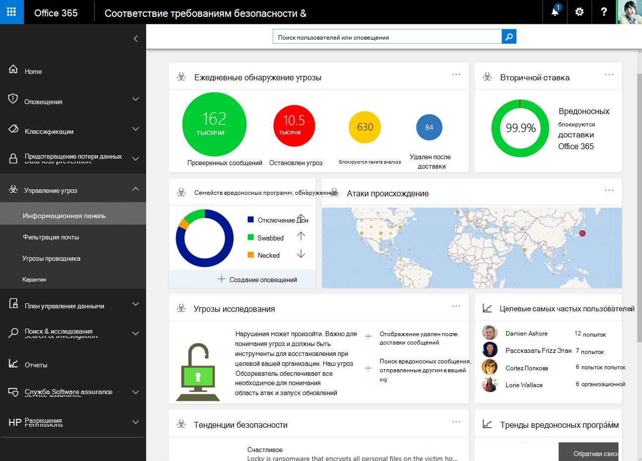 Безопасность и панели мониторинга в центре соответствия