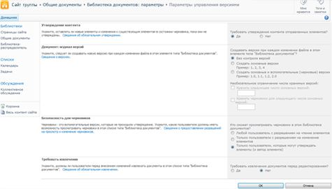 Страница параметров управления версиями, на которой показаны параметры утверждения