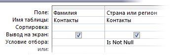 Изображение конструктора запросов с условием Is Not