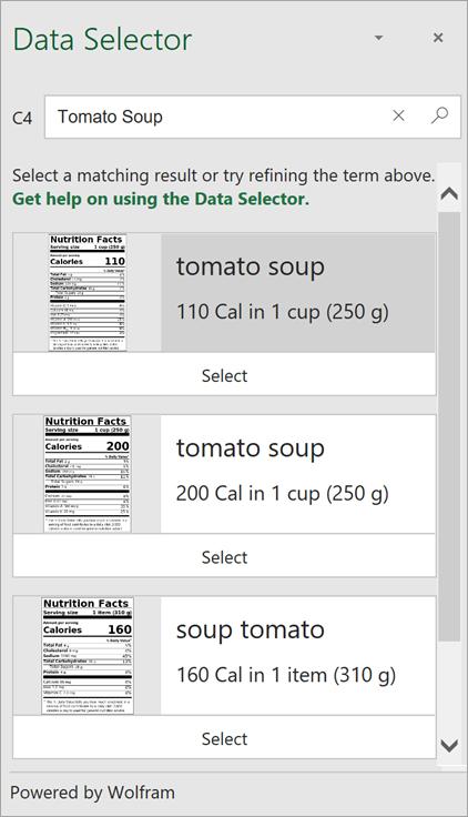 """Снимок экрана: область выбора данных с несколькими результатами по запросу """"Томатный суп""""."""