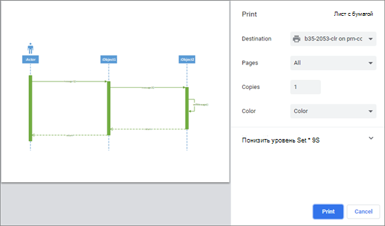 Внешний вид окна печати немного различается в зависимости от того, какой веб-браузер вы используете.