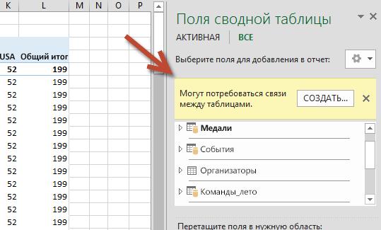 Запрос на СОЗДАНИЕ... связи в полях сводной таблицы