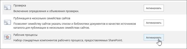 Функции семейства веб-сайтов Включение рабочих процессов