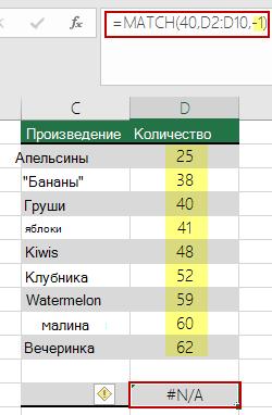 Ошибка #Н/Д в функции ПОИСКПОЗ из-за неправильного порядка сортировки
