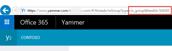 Идентификатор веб-канала Yammer в браузере