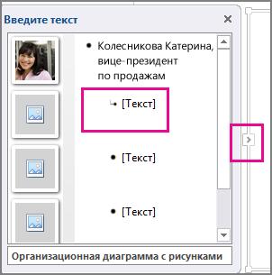 Область текста графического элемента SmartArt с выделенным полем [Текст] и элементом управления области текста