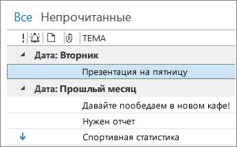 """Изображение столбца """"Тема"""" в почте"""