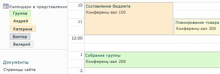 Календарь группы с ресурсами