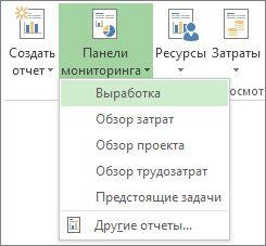 """Меню """"Панель мониторинга"""" на вкладке """"Отчет"""""""