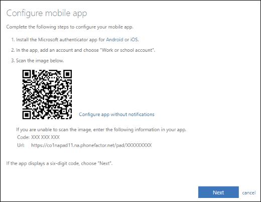 Настройка учебной или учебной учетной записи в приложении Microsoft Authenticator