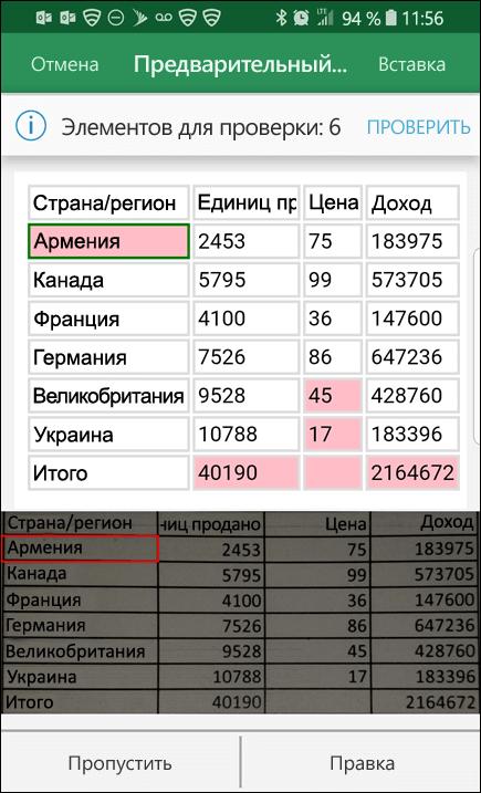 Импорт данных в Excel из рисунка дает возможность исправить любые проблемы, которые были обнаружены при преобразовании данных.