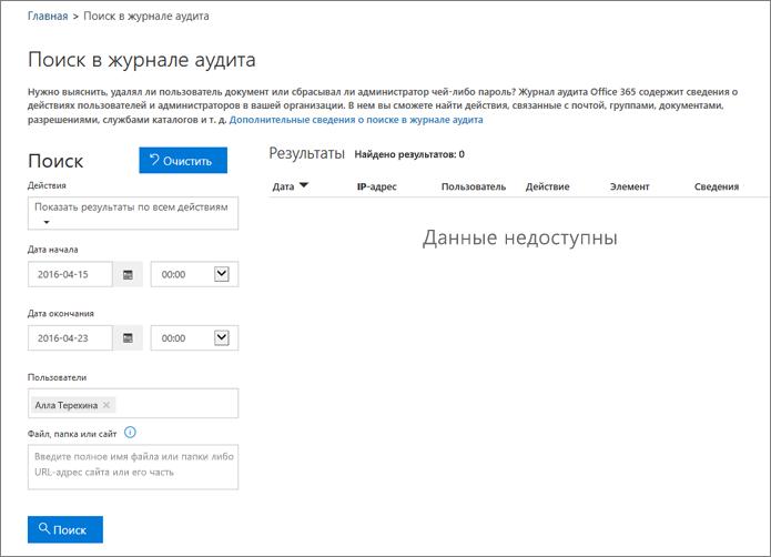 Отчет об активности в Office 365, в котором отображены все действия для партнера в экстрасети