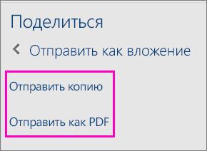 """Две ссылки в области """"Общий доступ"""": """"Отправить копию"""" и """"Отправить как PDF""""."""
