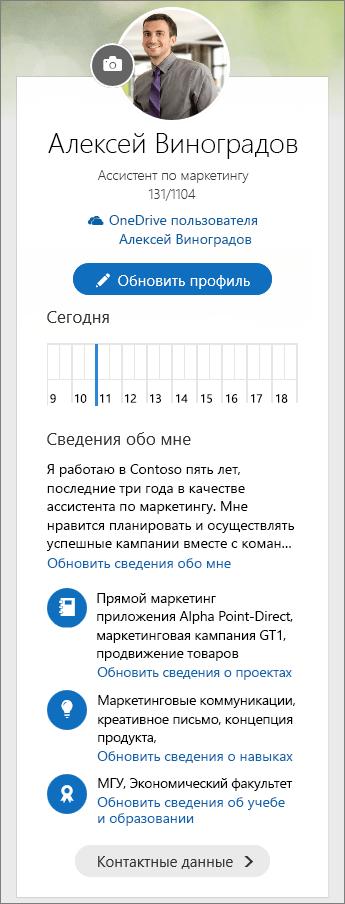 """Снимок экрана: стандартное содержимое в области """"Сведения обо мне"""" на кнопочной форме Delve."""