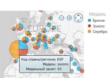 Дополнительные сведения в визуализации карты при наведении указателя мыши