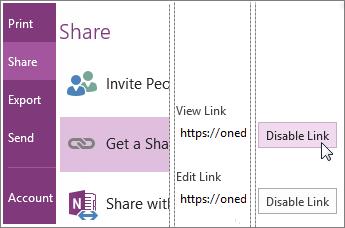 Включение и отключение ссылки совместного доступа