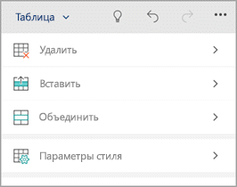 "Вкладка ""Таблица"" на телефоне с Windows"