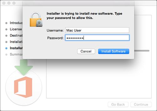 Введите пароль администратора, чтобы начать установку