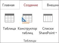 """Команда """"Конструктор таблиц"""" на вкладке """"Создание"""" ленты Access"""