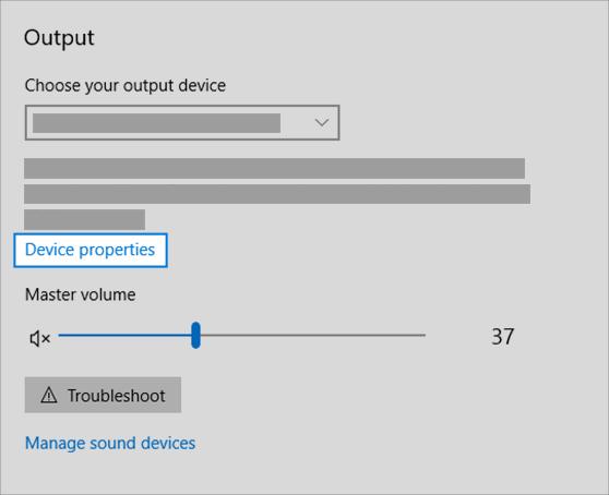 """Ссылка на свойства устройства вывода звука в меню """"звук"""""""