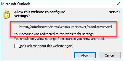 Outlook перенаправляет на автоматическое обнаружение