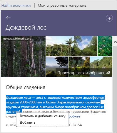 """Область """"Помощник исследователя"""", просмотр всех изображений, добавление текста или вставка текста и добавление ссылки"""
