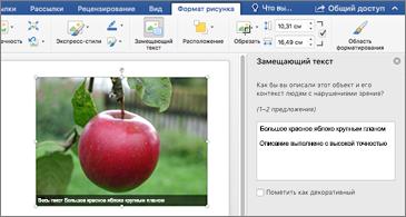 Документ Word с изображением и областью замещающего текста справа