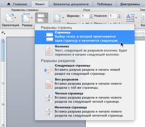 """Чтобы вставить разрыв страницы, нажмите кнопку """"Разрыв"""", а затем выберите пункт """"Страница""""."""