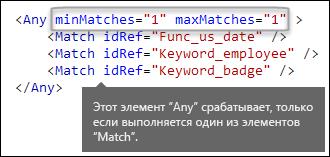 XML-разметка, демонстрирующая элемент Any с атрибутами minMatches и maxMatches