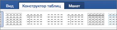 """Вкладки """"Конструктор таблиц"""" и """"Макет"""" для управления таблицами"""