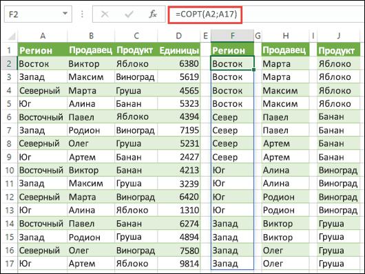 Использование функции СОРТ для сортировки диапазонов данных. В этом примере используется формула =СОРТ(A2:A17) для сортировки регионов, которая затем копируется в ячейки H2 и J2, чтобы отсортировать имена продавцов и продукты.
