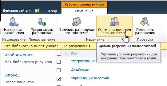 """Кнопка """"Удалить разрешения пользователя"""""""