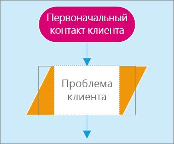 Снимок экрана: две фигуры на странице схемы. Одна фигура активна, и в нее можно ввести текст.