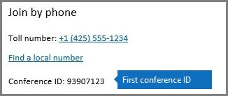 Первый динамический идентификатор конференц-связи.