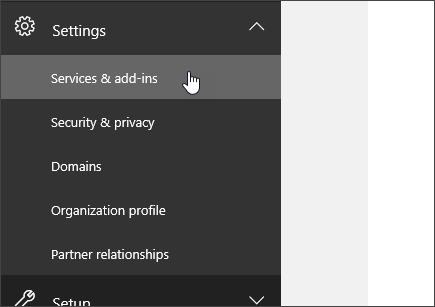 """Войдите в Office365, перейдите в центр администрирования Office365, выберите """"Параметры"""" и затем """"Службы и надстройки""""."""