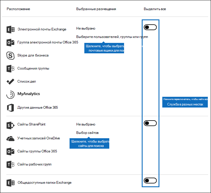 Пользовательский интерфейс для выбора расположения содержимого для поиска
